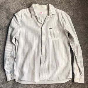 Lacoste Blue and white striped button down